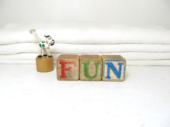Vintage Letter Blocks- Fun
