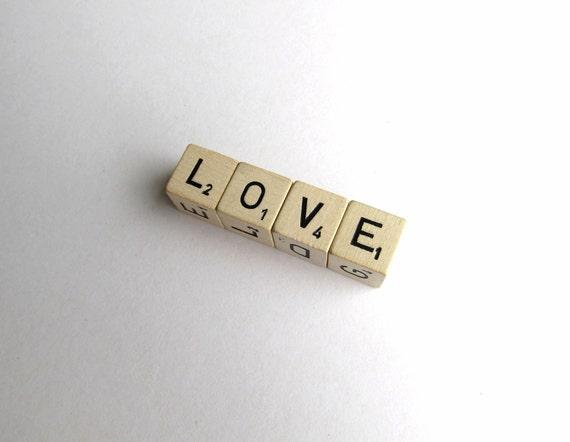 Vintage Wood Letter Dice- Love
