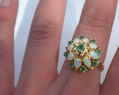 Amazing Opal & Emerald 14K Princess Estate Ring