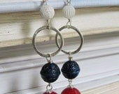 Vintage Lucite Earrings. Red. White. and Blue.Patriotic. Sterling Silver.