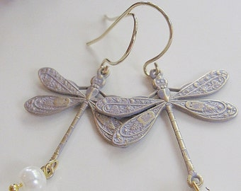White  Dragonfly Earrings, Bohemian Earrings, Petite Dragonflies, Nature inspired, Vintage Style