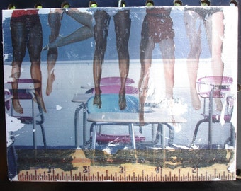 Original Collage Art - School Classroom Desks Students