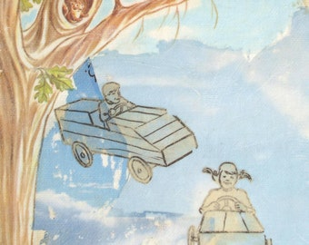 Original Collage Children Flying Cars Tree Squirrel Clouds Daydream Believers