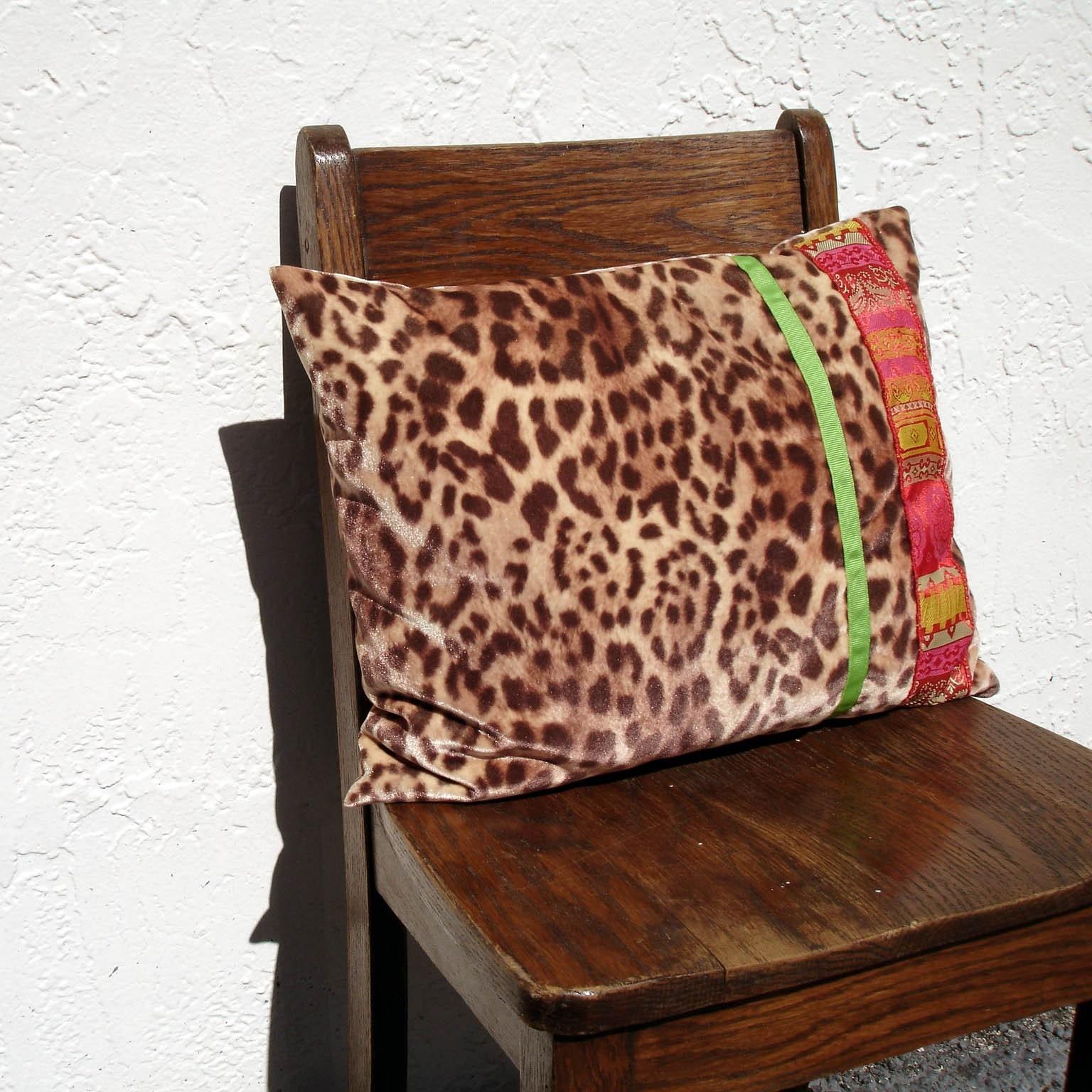 Leopard Print Velour Throw Pillow Retro Tiki Kitsch