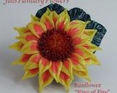 Sunflower Ring of Fire Brooch