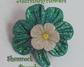 Shimmering Shamrock Brooch with Blossom