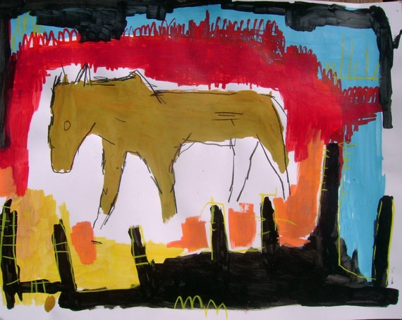Old Horse outsider art on paper 11x14