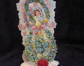 Vintage Blue 1920's 3 Dimentional Valentine with Boy - Forget-me-nots - Antique