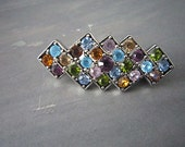 Vintage Rhinestone Brooch - Multi colored Rhinestones Art Deco Style