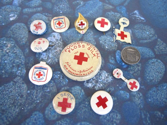 Vintage Red Cross Collectibles - 12 Pins and Things 1919-Current