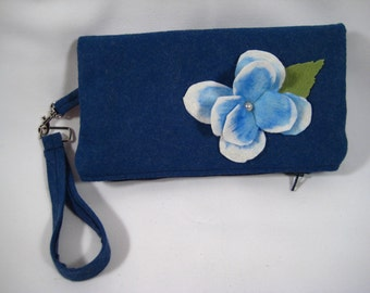 Blue Zippered Clutch Felt Flower Wristlet