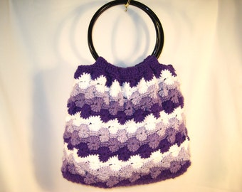 Large Crochet Purse with resin handles lined, Shades of Purple and White
