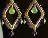 OOAK - Dramatic wire woven Silver Gemstone wrapped Chandeliers