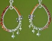 Dramatic Gemstone Mozambique, Manderin Garnet, Spinel OOAK wire wrapped Hoops Sale