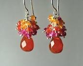 Colorful Gemstone Cluster.  Vivid Red Fire Opal, Ruby, Zircon, Carnelian Sterling Silver earrings