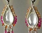 chandelier earrings. Stunning Ruby & Sapphire, Sterling Silver, Gemstone Chandelier