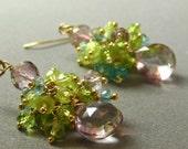Summer Floral Gold Gemstone Cluster. Peridot, Apatite, Mystic Pink Quartz