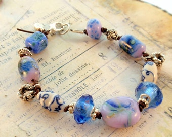 On Sale Now Blue Glass and Crystal with Silver Bracelet