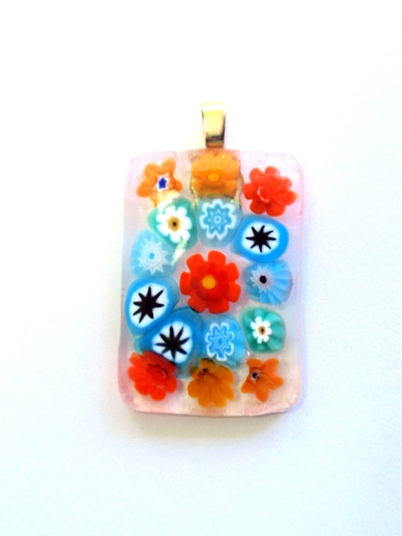 Fused Glass Millefiori Flowered Rectangular Cabochon