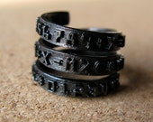 Number Band Wrap Ring - Black Plated