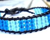 Faux Seaglass Beaded Leather Cuff Bracelet