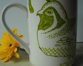 Quail n Chick - Hand drawn ceramic coffee cup or mug