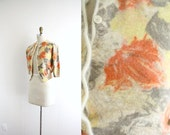 1950s Brushed Leaf . Watercolor . Cardigan Sweater