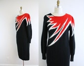 1980s Flames of Fire Sweater Dress . 80s . Black . Small
