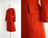Vintage Rusty Reddish Orange Shift Dress . 1960s 60s . Jack Mann