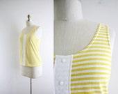 Vintage Tank Top . Yellow Stripe Shirt . White . Summer . 80s . Small