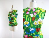 Vintage Neon Cartoon Flower Blouse . 60s Shirt . Bright . XXL