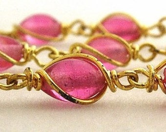Pink Glass  Bead Chain - Vintage Wire Wrapped Bead Chain Linked Chain Sections - 10 segments