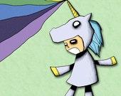 Rainbow Unicorn Assault Art Print Illustration