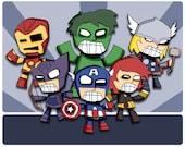 Avengers Team Super Hero Art Print Illustration