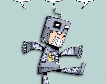 Robot Boy Art Illustration Print