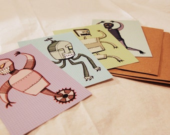 Crazybot Robot Postcard Set