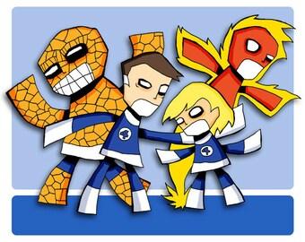Fantastic Four Super Hero Art Print Comic Book Illustration
