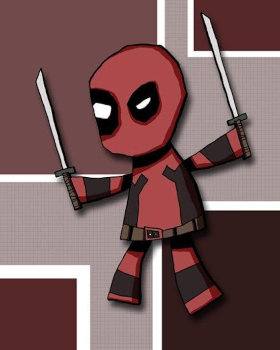 Deadpool X-Men Art Print Super Hero Illustration