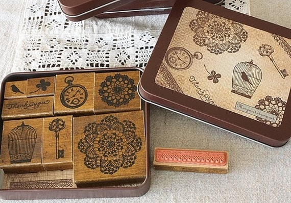 Japanese wood rubber sJapanese Antique Style Margaret Stamp set - Lace Bird Cage(By kodomo)