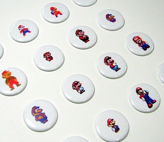 The Evolution of Mario Button Set