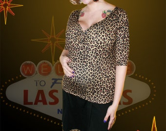 Leopard A-line Skirt  - PinUp Rockabilly Maternity Skirt from MamaSan Maternity Apparel