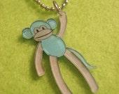 Baby Blue and White Monkey Pendant