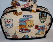 Quilted Travel Bag, ROUTE 66 fabric