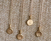 ONE Charm Tiny Initial Necklace in 14k Gold Vermeil