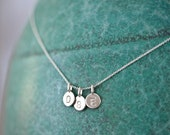 Tiny Initial Necklace - Sterling Silver Letters - THREE Charm Initial Necklace