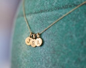 Reserved for Denise TIny Initial Necklace in 14k Gold Vermeil Three Charms J D V