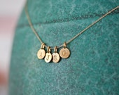 FOUR Charms Tiny Initial Necklace in 14k Gold Vermeil