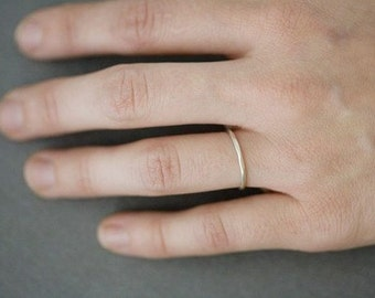 Sterling Hammered Stacking Ring - Single Silver Ring or Midi Band
