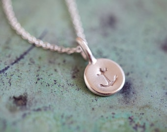 Tiny Anchor Necklace - Nautical Charm - Anchor Pendant - Matte Sterling Silver Anchor