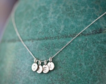 FOUR Charms Tiny Initial Necklace in Sterling Silver